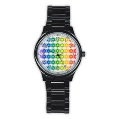 Background Colorful Geometric Stainless Steel Round Watch