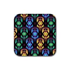 Pattern Background Bright Blue Rubber Square Coaster (4 Pack)  by Nexatart
