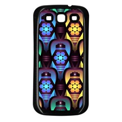 Pattern Background Bright Blue Samsung Galaxy S3 Back Case (black)