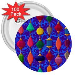 Colorful Background Stones Jewels 3  Buttons (100 Pack)