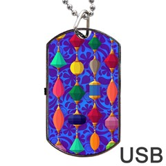 Colorful Background Stones Jewels Dog Tag Usb Flash (two Sides)