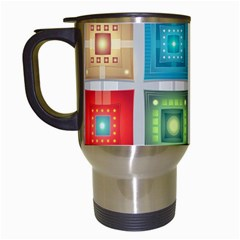 Tiles Pattern Background Colorful Travel Mugs (white)