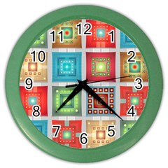 Tiles Pattern Background Colorful Color Wall Clocks