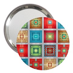 Tiles Pattern Background Colorful 3  Handbag Mirrors by Nexatart
