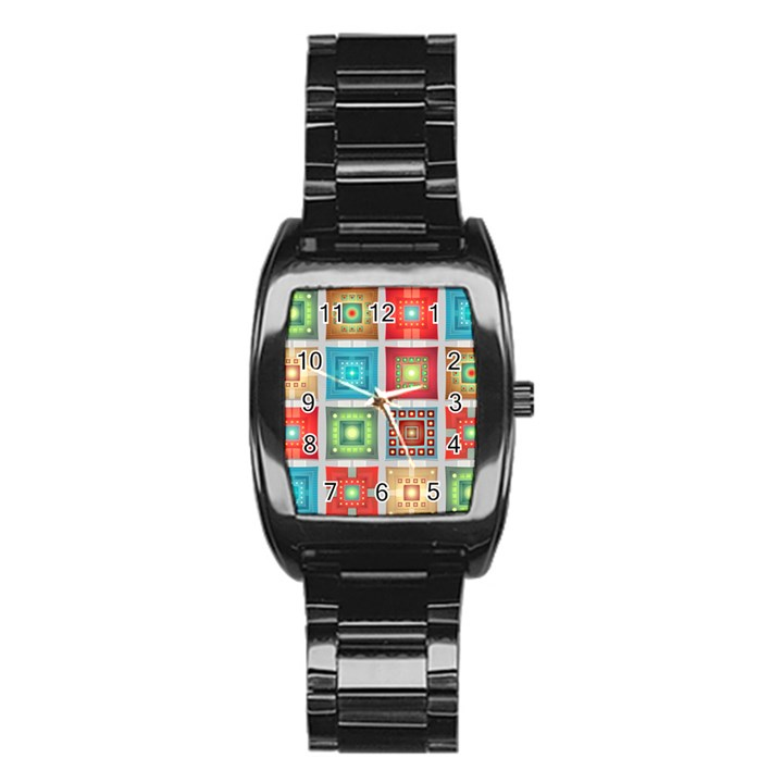 Tiles Pattern Background Colorful Stainless Steel Barrel Watch