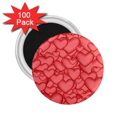 Background Hearts Love 2 25  Magnets (100 Pack)  by Nexatart