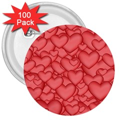 Background Hearts Love 3  Buttons (100 Pack)  by Nexatart
