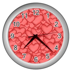 Background Hearts Love Wall Clocks (silver)  by Nexatart