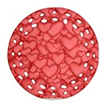 Background Hearts Love Round Filigree Ornament (Two Sides) Front