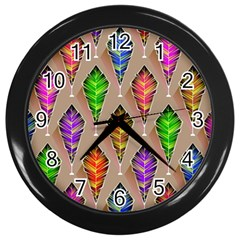 Abstract Background Colorful Leaves Wall Clocks (black)