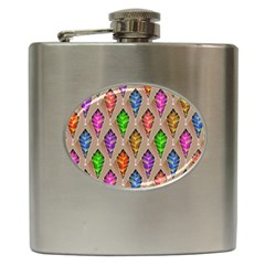 Abstract Background Colorful Leaves Hip Flask (6 Oz)
