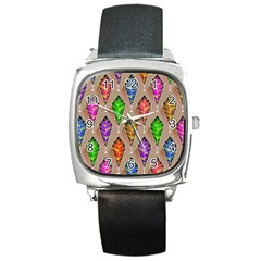 Abstract Background Colorful Leaves Square Metal Watch by Nexatart