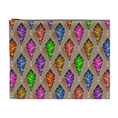Abstract Background Colorful Leaves Cosmetic Bag (xl)
