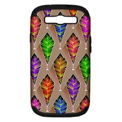 Abstract Background Colorful Leaves Samsung Galaxy S Iii Hardshell Case (pc+silicone) by Nexatart