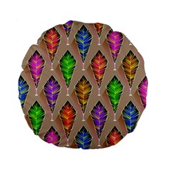 Abstract Background Colorful Leaves Standard 15  Premium Flano Round Cushions