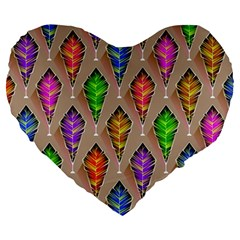 Abstract Background Colorful Leaves Large 19  Premium Flano Heart Shape Cushions
