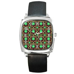Pattern Background Bright Brown Square Metal Watch