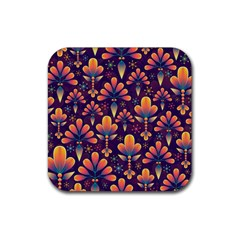 Abstract Background Floral Pattern Rubber Square Coaster (4 Pack)  by Nexatart