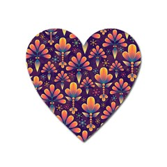 Abstract Background Floral Pattern Heart Magnet by Nexatart