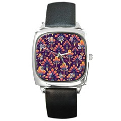 Abstract Background Floral Pattern Square Metal Watch by Nexatart