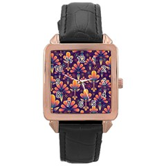 Abstract Background Floral Pattern Rose Gold Leather Watch  by Nexatart