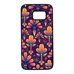 Abstract Background Floral Pattern Samsung Galaxy S7 Black Seamless Case