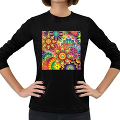 Colorful Abstract Background Colorful Women s Long Sleeve Dark T-shirts by Nexatart