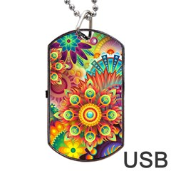 Colorful Abstract Background Colorful Dog Tag Usb Flash (one Side) by Nexatart