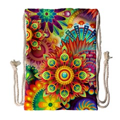 Colorful Abstract Background Colorful Drawstring Bag (large)