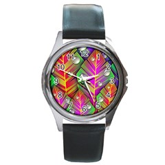 Abstract Background Colorful Leaves Round Metal Watch