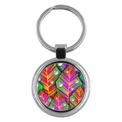 Abstract Background Colorful Leaves Key Chains (round)  by Nexatart