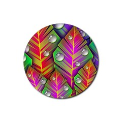 Abstract Background Colorful Leaves Rubber Coaster (round)  by Nexatart