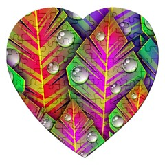Abstract Background Colorful Leaves Jigsaw Puzzle (heart) by Nexatart