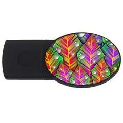 Abstract Background Colorful Leaves Usb Flash Drive Oval (4 Gb)