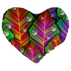 Abstract Background Colorful Leaves Large 19  Premium Flano Heart Shape Cushions by Nexatart