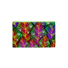 Abstract Background Colorful Leaves Cosmetic Bag (xs) by Nexatart