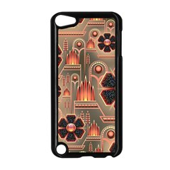 Background Floral Flower Stylised Apple Ipod Touch 5 Case (black)