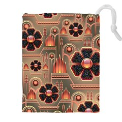 Background Floral Flower Stylised Drawstring Pouches (xxl) by Nexatart