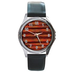 Colorful Abstract Background Strands Round Metal Watch