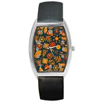 Pattern Background Ethnic Tribal Barrel Style Metal Watch Front