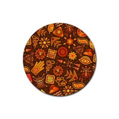 Pattern Background Ethnic Tribal Rubber Coaster (round)