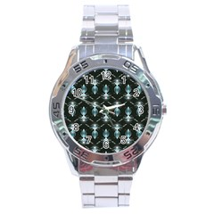 Seamless Pattern Background Stainless Steel Analogue Watch