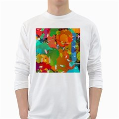 Background Colorful Abstract White Long Sleeve T Shirts