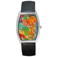 Background Colorful Abstract Barrel Style Metal Watch