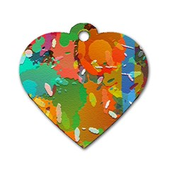 Background Colorful Abstract Dog Tag Heart (one Side)