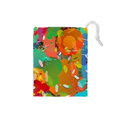 Background Colorful Abstract Drawstring Pouches (small)  by Nexatart