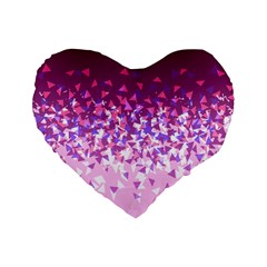 Pink Disintegrate Standard 16  Premium Flano Heart Shape Cushions by jumpercat