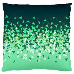 Green Disintegrate Large Flano Cushion Case (one Side) by jumpercat