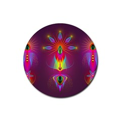 Abstract Bright Colorful Background Rubber Round Coaster (4 Pack)