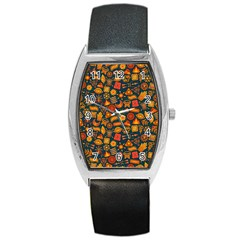 Pattern Background Ethnic Tribal Barrel Style Metal Watch by Nexatart
